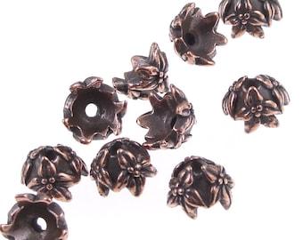 TierraCast JASMINE Bead Caps - 7mm Antique Copper Beadcaps - Tierra Cast Copper Bead Caps (PC104)