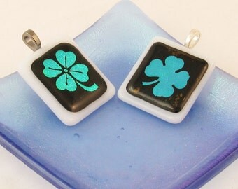 4 leaf clover or shamrock - fused glass pendant - emerald green necklace - St. Paddys Day (1651 or 3128)