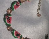 SALE   Watermelon on the Vine   Poly Bead Bracelet