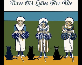 Three Old Ladies and Cats Refrigerator Magnet - FREE US SHIPPING