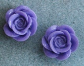20pcs Acrylic Lucite Resin Purple Rose Flower Cabochons 18mm SALE 909
