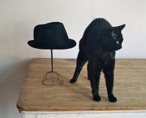 1950s Black Wool Felt Fedora Hat, Vintage Fedora Hat, Vintage Fashion