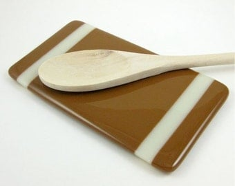 Brown and Tan Fused Glass Spoon Rest