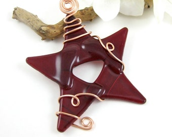 Red Glass Star Ornament wrapped with copper wire