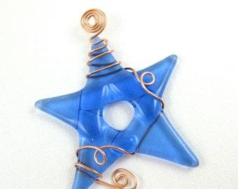 Light Blue Glass Star Suncatcher
