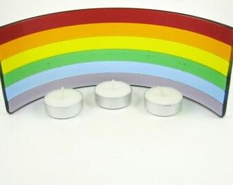 Rainbow Candle Screen - Colorful Fused Glass Candle Holder - Colors of the Rainbow - Pride Candle Screen - Rainbow Luminaries