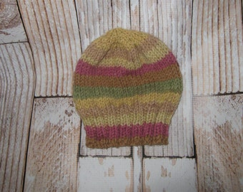 acrylic blend  striped  Baby Hat - 0 - 3 months Hand knit