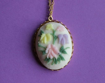 Vintage Pastel Flowers Cameo Necklace