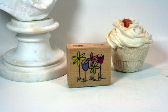 Flower Garden Stamp-DESTASH Kolette Hall Stamp Tulip Stamp Daisy Stamp Wood Mounted Rubber