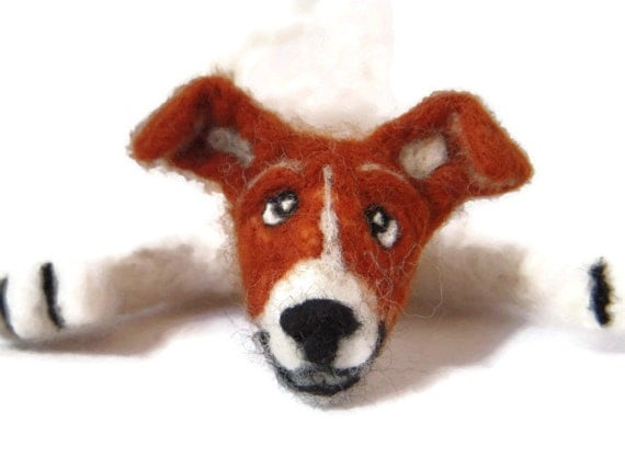 Splat - Dog bookmark - Custom bookmark of your pet - Needle felted jack russell Terrier Bookmark