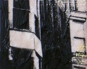 Tall & skinny screenprint and encaustic featuring New Orleans building -- SPECIAL SALE PRICE