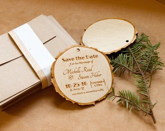 "Wood engraved 4"" Save the Date invitations"