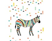 Zebra in the forest, Art Print, Animal Illustration, Horse Illustration, Drawing, Illustration, Decorative Arts, Abstract print,