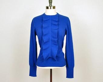 SONIA RYKIEL vintage designer sweater- blue cobalt ruffle front