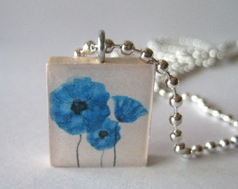Pretty Flowers Scrabble Tile Necklace