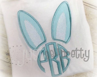 Bunny Ears 4 Monogram Easter Embroidery Applique Design