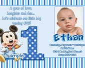Mickey Mouse 1st Birthday Invitations with matching thank you (Baby Mickey Mouse 1st Birthday)