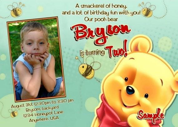 winnie the pooh birthday invitations 2nd birthday printable,