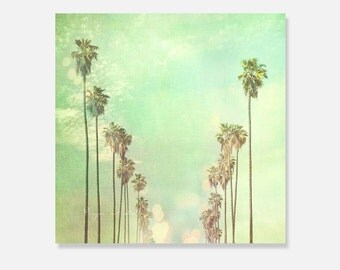 Los Angeles canvas wrap, California home decor, mint green, palm tree photography, LA, large wall art, La La Land  canvas print Myan Soffia