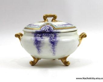 1910s Hand Painted Violets Dish Fine Porcelain