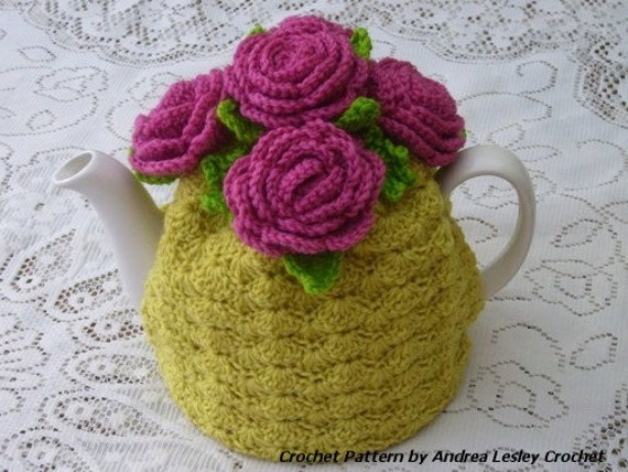 Free Easy Tea Cosy Crochet Pattern : Pattern for Crochet Rose Tea Cosy Instant by ...