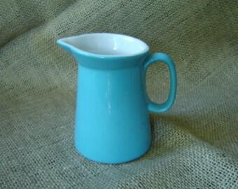Vintage Creamer Pitcher Turquoise Blue 1970s Cottage Chic Farmhouse Chic