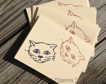 The Natural Pet / Two Cats card, set of four (hand printed)