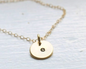Dainty Gold Initial Necklace, Personalized Necklace, Hand Stamped Gold Necklace, Hand Stamped Necklace, Bridesmaids Gift, Monogram necklace