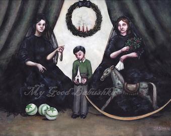 St. Stephen's Day, Victorian Mourning Dress, Widows, Black Veils, Child, Martyr, Symbolism, Hagiography, Rocking Horse, Wren, Three Balls