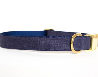 Washed Linen Dog Collar - Navy