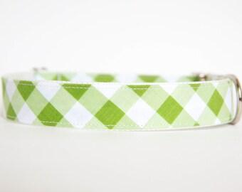 Gingham Dog Collar in Green