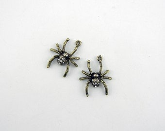 Pair of Burnished Gold-tone Spider Charms with Rhinestones