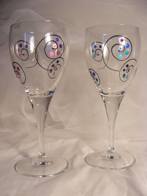 Unique Painted Wine Glasses With Polka Dots And By