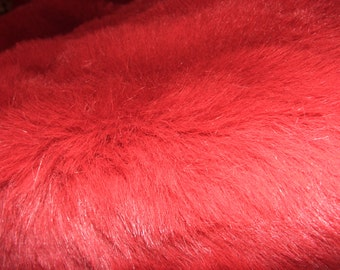Bright Red Synthetic Superb Quality Fur.