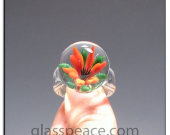 Glass Ring Flower Size 8.5 - handmade lampwork glass ring - Glass Peace glass jewelry (5944)