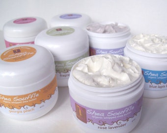 Choose Your Fragrance  Organic Shea Souffle'  4oz - Bath and Beauty Products - Natural Skincare Whipped Body Butter
