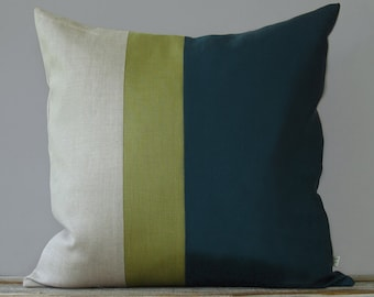 Linden Green and Teal Color Block Pillow (20x20) Fall Home Decor by JillianReneDecor
