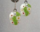 Earrings Dangle Jewelry Millefiori Fused Glass Handmade Minnesota Artisan Handcrafted Daisy Dance