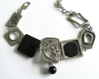 Unique bracelet, black bracelet, gift, abstract bracelet, asymmetric bracelet, Funky  jewelry