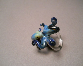 Octopus Ring Black Pearl Beach Jewelry