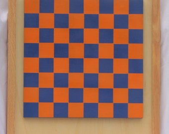 Wooden Checker Board Game Board Orange and Dark Blue with Checkers - Handcrafted Wooden Check Board