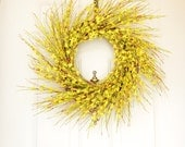 Yellow Spring Wreath -  Yellow Forsythia -  Bright Yellow - Front Door Decoration