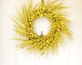 Yellow Spring Wreath -  Yellow Forsythia -  Bright Yellow - Front Door Decoration
