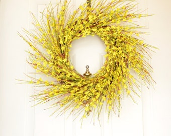 Yellow Spring Wreath Spring Wreath Yellow Forsythia Bright Yellow Grapevine wreath Front Door Decor