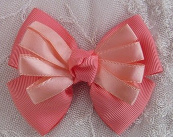 PEACH Grosgrain Satin Ribbon Bow Applique Bridal Baby Hair Accessory