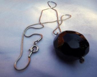 "Garnet Pendant on a 17"" Sterling Silver Chain"