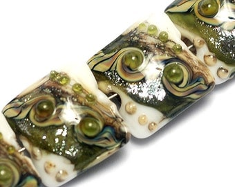 Glass Lampwork Bead Set - Four Olive Stardust Pillow Beads 10505714