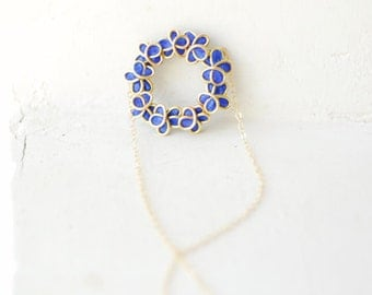 14k Gold Forget Me Not Flower Necklace in Royal Blue, 1st Anniversary Wedding Jewelry, Paper Artisan Wearable Art....