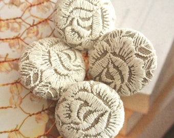 """Handmade Victorian Rustic Large Beige Cream Floral Flower Lace Fabric Covered Buttons , Rustic Beige Flower Wedding Fridge Magnets, 1.5"""" 4's"""