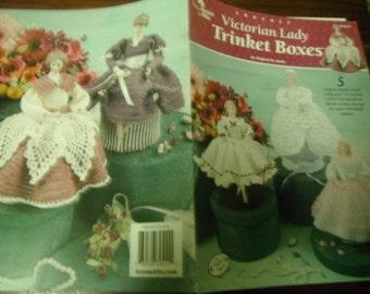 Doll Thread Crocheting Victorian Lady Trinket Boxes Annie's Attic 872511 Crochet Pattern Leaflet
